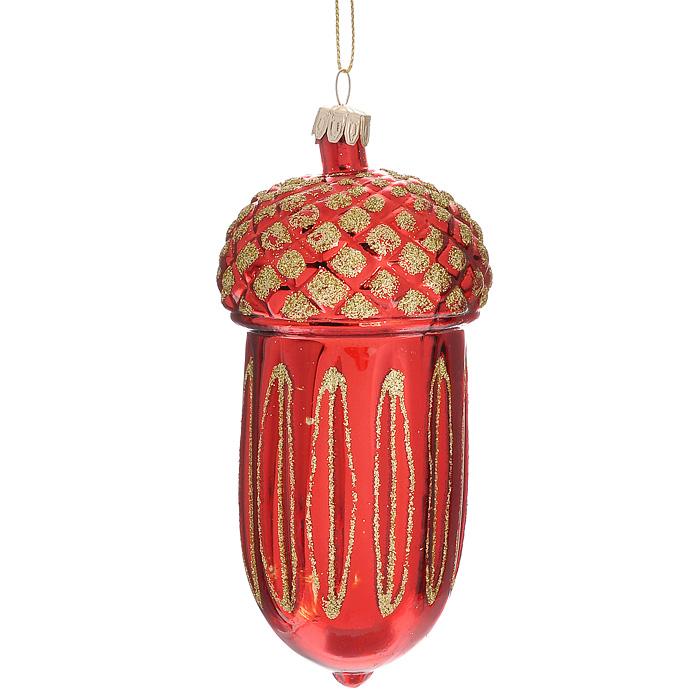 Новогоднее подвесное украшение Желудь, цвет: красный, золотистый. 1991819918Оригинальное новогоднее украшение Желудь прекрасно подойдет для праздничного декора новогодней ели. Украшение выполнено из стекла, окрашенного в красный цвет, и оформлено золотистыми блестками. Елочная игрушка - символ Нового года. Она несет в себе волшебство и красоту праздника. Создайте в своем доме атмосферу веселья и радости, украшая новогоднюю елку нарядными игрушками, которые будут из года в год накапливать теплоту воспоминаний. Характеристики: Материал: стекло, блестки, текстиль. Цвет: красный, золотистый. Размер украшения (ДхШхВ): 5,5 см х 5,5 см х 13 см. Артикул: 19918.