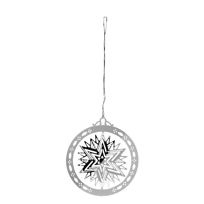 Новогоднее подвесное украшение Звезда, цвет: серебристый. 3162931629Оригинальное новогоднее украшение «Звезда» прекрасно подойдет для праздничного декора вашего дома и новогодней ели. Украшение выполнено из черного металла, окрашенного серебристой краской, и оформлено перфорацией в виде звезды. С помощью текстильной петельки изделие можно повесить в любое понравившееся место. Но, конечно, удачнее всего оно будет смотреться на новогодней елке. Елочная игрушка - символ Нового года. Она несет в себе волшебство и красоту праздника. Создайте в своем доме атмосферу веселья и радости, украшая новогоднюю елку нарядными игрушками, которые будут из года в год накапливать теплоту воспоминаний.