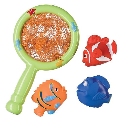 Игровой набор для ванны Веселая рыбалка32008Игровой набор для ванны Веселая рыбалка привлечет внимание вашего малыша и превратит купание в веселую игру! Набор включает в себя сачок и три рыбки-брызгалки. Элементы набора изготовлены из безопасных для ребенка материалов, не содержащих BRA. Сачок выполнен из пластика с текстильной сеточкой. Яркие рыбки разных цветов - из ПВХ. Малыш может устроить в ванной настоящую рыбалку и ловить сачком рыбок, а может играть ими отдельно. Если в рыбку набрать воды, а затем нажать на нее, то у нее изо рта брызнет тонкая струйка воды, что, несомненно, позабавит малыша. Набор Веселая рыбалка поможет ребенку развить цветовосприятие, мелкую моторику рук, тактильные ощущения и координацию движений.