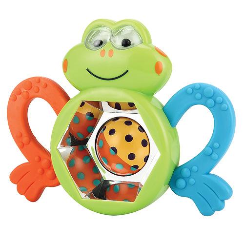 Игрушка-погремушка Happy Baby Смешной лягушонок330303Игрушка-погремушка Смешной лягушонок не оставит вашего малыша равнодушным и не позволит ему скучать! Игрушка выполнена в виде фигурки лягушонка с вращающимся шариком, окруженного маленькими зеркалами и лапками прорезывателями, озвучена по принципу погремушки. Яркие цвета игрушки и различные типы материала направлены на развитие мыслительной деятельности, цветовосприятия, тактильных ощущений и мелкой моторики рук ребенка, а элемент погремушки способствует развитию слуха.