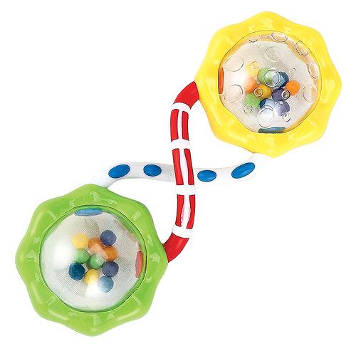 Игрушка-погремушка Шарики Happy Baby330301Яркая игрушка-погремушка Шарики привлечет внимание вашего малыша и не позволит ему скучать. Игрушка представляет собой две прозрачных сферы соединенные между собой, внутри которых расположены маленькие разноцветные шарики, выполняющие роль погремушки. Погремушку удобно хватать и держать. Игра с погремушкой поможет малышу развить слуховое и цветовое восприятия, мелкую моторику рук и концентрацию внимания, стимулирует взаимодействие между органами осязания, слухом и зрением, учит различать формы и цвета.