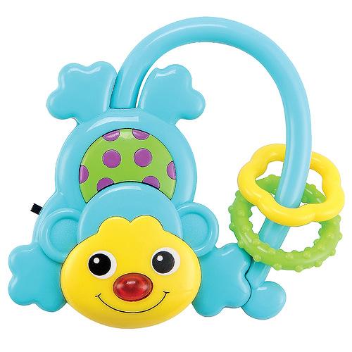Развивающая игрушка Happy Baby Обезьянка330304Развивающая игрушка Happy Baby Обезьянка привлечет внимание вашего малыша и не позволит ему скучать! Игрушка выполнена из безопасного пластика в виде обезьянки. Ее хвостик представляет собой дугу, на которую нанизаны два колечка, которые малыш будет с удовольствием передвигать. Нажав большую кнопку над головой обезьянки, малыш увидит, как засветиться ее носик. На животике обезьянки находится безопасное зеркальце. Яркая развивающая игрушка Happy Baby Обезьянка поможет малышу в развитии цветового и звукового восприятия, концентрации внимания, мелкой моторики рук, координации движений и тактильных ощущений.