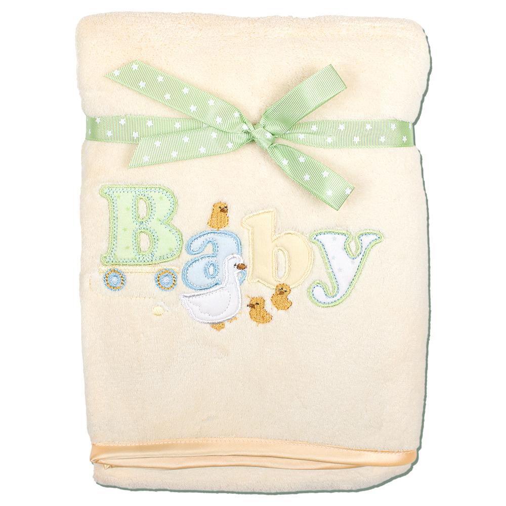 Плед детский Baby, цвет: бежевый, 76 см х 101 смRB BABY 04Мягкий и уютный детский плед Baby нежного бежевого цвета словно создан для того, чтобы окружить теплотой и радостью маленькую кроху. Он прекрасно подходит для укрывания малыша, как дома, так и на прогулке в коляске. Верхний слой пледа изготовлен из мягкого, приятного на ощупь плюша, нижний слой - из тонкого флиса. Оформлен он аппликацией в виде надписи Baby. Благодаря размерам и практичному материалу плед очень удобен в использовании. Детский плед Baby - лучший выбор родителей, которые хотят подарить ребенку ощущение комфорта и надежности уже с первых дней жизни. Рекомендации по уходу: - не гладить; - отбеливать без хлора; - стирка при температуре не более 40°С; - сушка в барабане при более низкой температуре; - сухая чистка запрещена. Характеристики: Материал: 100% полиэстер (флис, плюш). Размер: 76 см х 101 см. Производитель: США. Изготовитель: Китай.