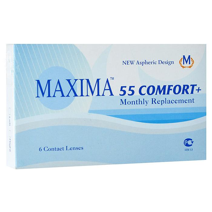 Maxima контактные линзы 55 Comfort Plus (6шт / 8.6 / -1.00)7672Контактные линзы Maxima 55 Comfort Plus - это линзы ежемесячной замены, имеющие асферический дизайн и изготовленные из биосовместимого материала. Эти контактные линзы разработаны специально для людей имеющих небольшую степень астигматизма, а также желающих ощущать чувство полного комфорта в течение целого дня. Асферическая поверхность контактной линзы помогает формировать более контрастное и четкое изображение. В Maxima 55 Comfort Plus все лучи, в том числе и проходящие через периферию, собираются вместе, тем самым минимизируя оптические искажения. Другим достоинством этих линз является материал из которого они изготовлены. Контактные линзы Maxima 55 Comfort Plus обладают низким уровнем образования отложений, превосходно удерживают воду и отлично пропускают кислород к роговице глаза. Все это стало возможно благодаря совершенно новому биосовместимому материалу, благодаря ему ношение контактных линз стало еще более удобным и комфортным. Замена через 1 месяц.