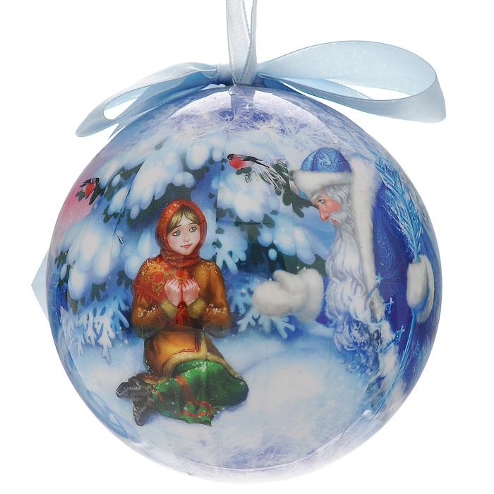 Новогоднее подвесное украшение Морозко. 020256020256Украшение выполнено из пластика в виде шара, декорированного ручной художественной росписью и покрытого лаком. Благодаря плотному корпусу изделие никогда не разобьется, поэтому вы можете быть уверены, что оно прослужат вам долгие годы. На шаре изображены герои сказки Морозко. Такая елочная игрушка может стать отличным и незабываемым подарком. Игрушка упакована в подарочную коробку. Откройте для себя удивительный мир сказок и грез. Почувствуйте волшебные минуты ожидания праздника, создайте новогоднее настроение вашим дорогим и близким.