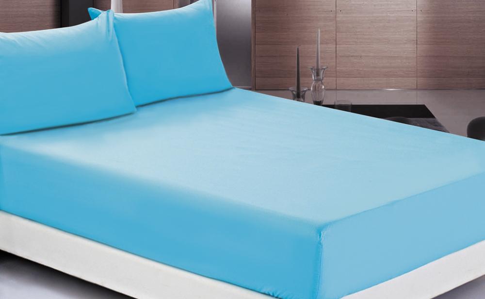 Простыня OL-Tex Джерси, на резинке, цвет: голубой, 160 х 200 х 20 смПТР-160Простыня OL-Tex Джерси изготовлена из гладкокрашеного трикотажного полотна. По всему периметру простыня снабжена резинкой. Изделие легко одевается на матрасы высотой до 20 см. Идеально подходит в качестве наматрасника. Рекомендации по уходу: - Ручная и машинная стирка при температуре 30°С. - Гладить при средней температуре до 150°С. - Не отбеливать. - Можно сушить и отжимать в стиральной машине. - Химчистка запрещена.