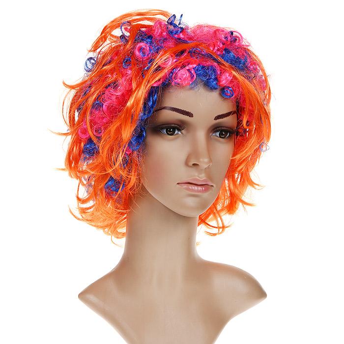Маскарадный парик, цвет: оранжевый. 2683326833Маскарадный парик выполнен из синтетических волокон в виде коротких волос оранжевого цвета с синими и розовыми вьющимися прядями. В таком парике вы будете выглядеть просто великолепно. Веселое настроение и масса положительных эмоций вам будут обеспечены!