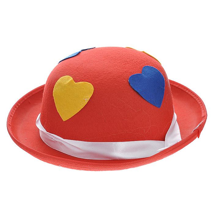 Маскарадная шляпа, цвет: красный. 3131831318У вас намечается веселая вечеринка или маскарад? Маскарадная шляпа внесет нотку задора и веселья в праздник и станет завершающим штрихом в создании праздничного образа. Шляпа, выполненная из синтетического фетра, украшена аппликациями в виде сердечек желтого и синего цвета, а также атласной лентой белого цвета. Веселое настроение и масса положительных эмоций вам будут обеспечены! Характеристики: Материал: синтетический фетр. Цвет: красный. Обхват головы: 58 см. Общий размер шляпы: 30 см х 28 см х 10 см. Артикул: 31318.