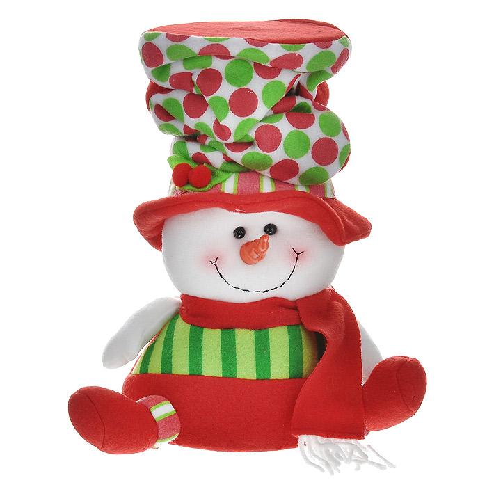 Новогоднее украшение Снеговик, 27 см. 2556625566Новогоднее украшение «Снеговик» прекрасно подойдет для праздничного декора дома. Украшение выполнено из полиэстера в виде фигурки Снеговика, одетого в красный наряд и высокую шляпу. Фигурка имеет жесткое основание. Новогодняя игрушка несет в себе волшебство и красоту праздника. Создайте атмосферу веселья и радости, украшая дом нарядными игрушками, которые будут из года в год накапливать теплоту воспоминаний. Вы можете поставить фигурку в любом месте, где она будет удачно смотреться и радовать глаз. Кроме того, это украшение - отличный вариант подарка для ваших близких и друзей. Коллекция декоративных украшений из серии Magic Time принесет в ваш дом ни с чем несравнимое ощущение волшебства!