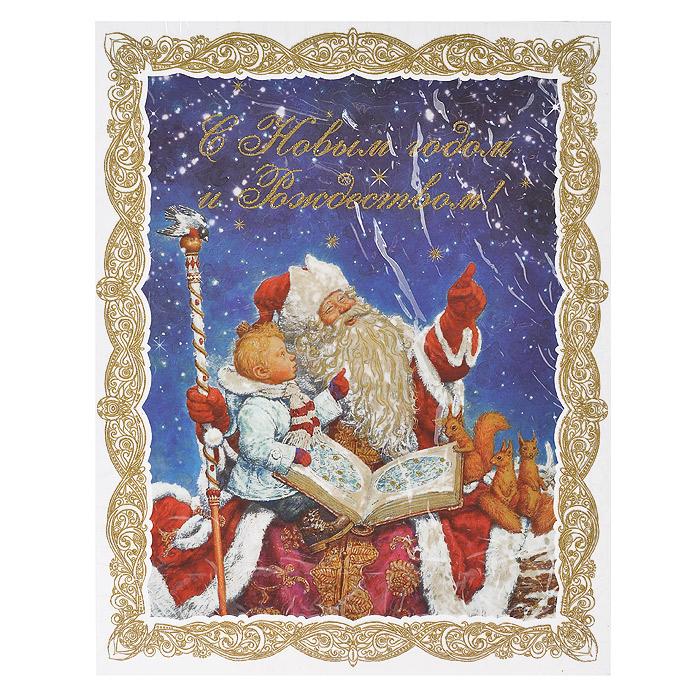 Новогоднее оконное украшение С Новым годом и Рождеством!. 3125031250Новогоднее оконное украшение представляет собой красивую наклейку, оформленную изображением Деда мороза и мальчика. Наклейка декорирована глиттером (золотистыми блестками). Крепится к гладкой поверхности стекла посредством статического эффекта. После использования не оставляет следов на окнах. Новогодние наклейки помогут вам украсить интерьер дома к предстоящим праздникам и почувствовать волшебную атмосферу Нового года. Наклейте украшения на стекла и наслаждайтесь прекрасным видом из окна. Коллекция декоративных украшений из серии Magic Time принесет в ваш дом ни с чем несравнимое ощущение волшебства! Характеристики: Материал: ПВХ пленка, блестки. Размер наклейки: 30 см х 38 см. Размер упаковки: 30 см х 44 см х 0,5 см. Артикул: 31250.