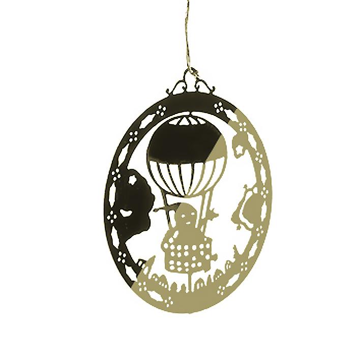 Новогоднее подвесное украшение Воздушный шар, цвет: золотистый. 3162831628Оригинальное новогоднее украшение «Воздушный шар» прекрасно подойдет для праздничного декора вашего дома и новогодней ели. Украшение выполнено из черного металла, окрашенного золотистой краской, и оформлено перфорацией в виде воздушного шара. С помощью текстильной петельки изделие можно повесить в любое понравившееся место. Но, конечно, удачнее всего оно будет смотреться на новогодней елке. Елочная игрушка - символ Нового года. Она несет в себе волшебство и красоту праздника. Создайте в своем доме атмосферу веселья и радости, украшая новогоднюю елку нарядными игрушками, которые будут из года в год накапливать теплоту воспоминаний.
