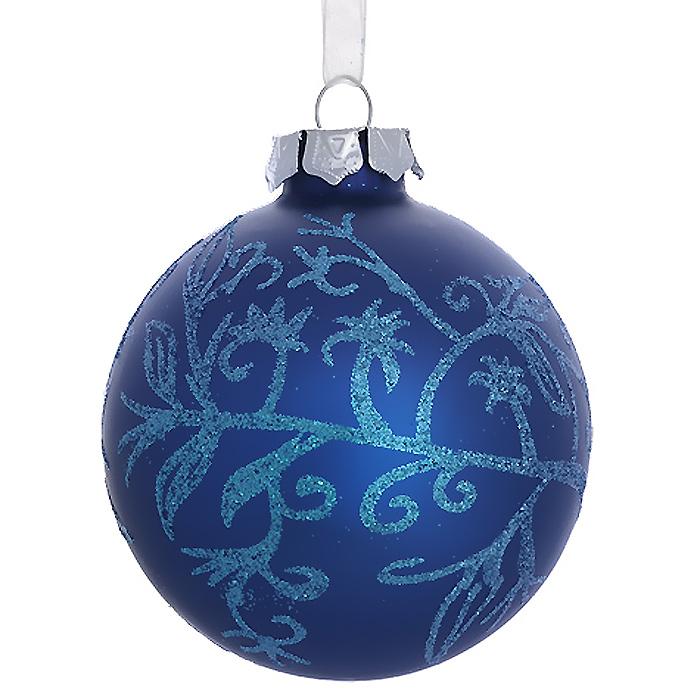 Новогоднее подвесное украшение Шар, цвет: синий. 3049930499Новогоднее подвесное украшение «Шар» выполнено из стекла с синим покрытием и декорировано голубыми блестками. С помощью специальной ленты украшение можно повесить в любом понравившемся вам месте. Но, конечно, удачнее всего такой шар будет смотреться на праздничной елке. Елочная игрушка - символ Нового года. Она несет в себе волшебство и красоту праздника. Создайте в своем доме атмосферу веселья и радости, украшая новогоднюю елку нарядными игрушками, которые будут из года в год накапливать теплоту воспоминаний. Коллекция декоративных украшений из серии Magic Time принесет в ваш дом ни с чем несравнимое ощущение волшебства!