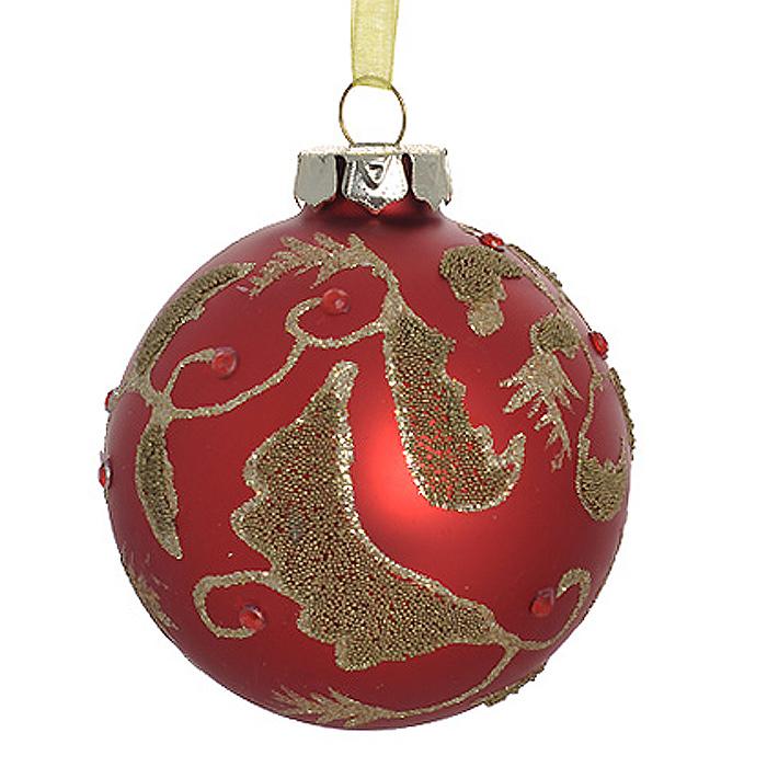 Новогоднее подвесное украшение Шар, цвет: красный. 3050630506Новогоднее подвесное украшение «Шар» выполнено из стекла с красным покрытием и декорировано золотистыми блестками, бусинами и стразами. С помощью специальной ленты украшение можно повесить в любом понравившемся вам месте. Но, конечно, удачнее всего такой шар будет смотреться на праздничной елке. Елочная игрушка - символ Нового года. Она несет в себе волшебство и красоту праздника. Создайте в своем доме атмосферу веселья и радости, украшая новогоднюю елку нарядными игрушками, которые будут из года в год накапливать теплоту воспоминаний. Коллекция декоративных украшений из серии Magic Time принесет в ваш дом ни с чем несравнимое ощущение волшебства!
