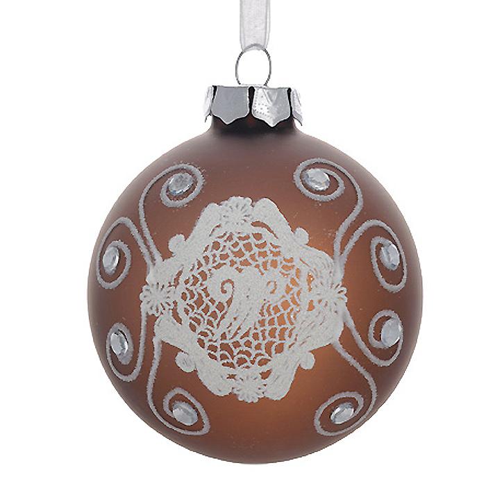 Новогоднее подвесное украшение Шар, цвет: бронзовый. 3053030530Новогоднее подвесное украшение «Шар» выполнено из стекла с покрытием бронзового цвета и декорировано узорами из блесток и стразами. С помощью специальной ленты украшение можно повесить в любом понравившемся вам месте. Но, конечно, удачнее всего такой шар будет смотреться на праздничной елке. Елочная игрушка - символ Нового года. Она несет в себе волшебство и красоту праздника. Создайте в своем доме атмосферу веселья и радости, украшая новогоднюю елку нарядными игрушками, которые будут из года в год накапливать теплоту воспоминаний. Коллекция декоративных украшений из серии Magic Time принесет в ваш дом ни с чем несравнимое ощущение волшебства! Характеристики: Материал: стекло, металл, текстиль. Цвет: бронзовый. Диаметр игрушки: 8 см. Размер упаковки: 9,5 см х 9,5 см х 9 см. Артикул: 30530.