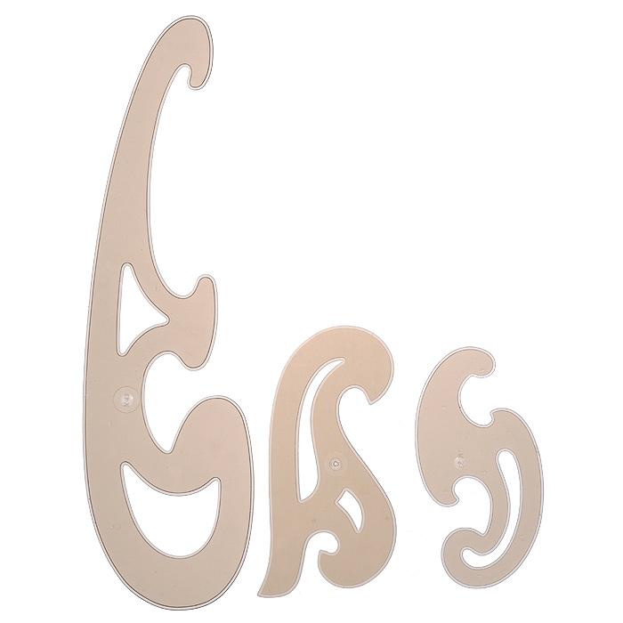 """Набор лекал """"Koh-i-Noor"""", большой, цвет: коричневый, 3 шт 750068"""