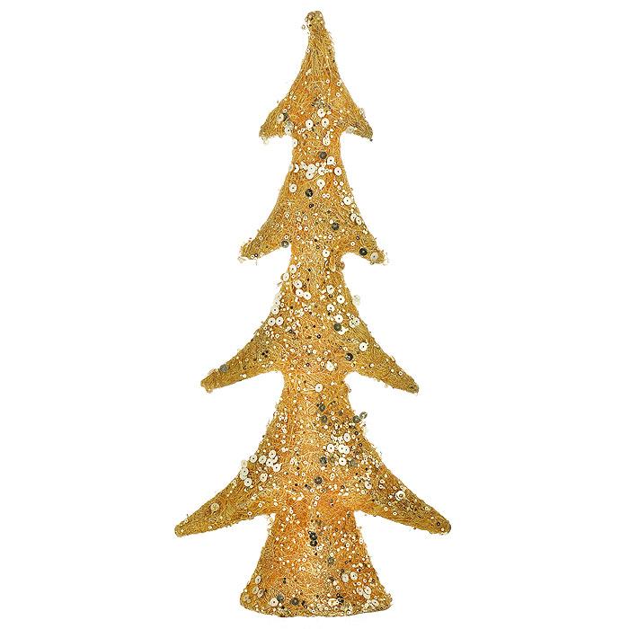 Новогоднее украшение Елка, цвет: золотистый, высота 45 см. 1538015380Это оригинальное новогоднее украшение гармонично впишется в праздничный интерьер вашего дома или офиса. Украшение выполнено в виде изящной елки из натурального волокна сизаля, декорированной золотистыми пайетками. Новогодние украшения всегда несут в себе волшебство и красоту праздника. Создайте в своем доме атмосферу тепла, веселья и радости, украшая его всей семьей.