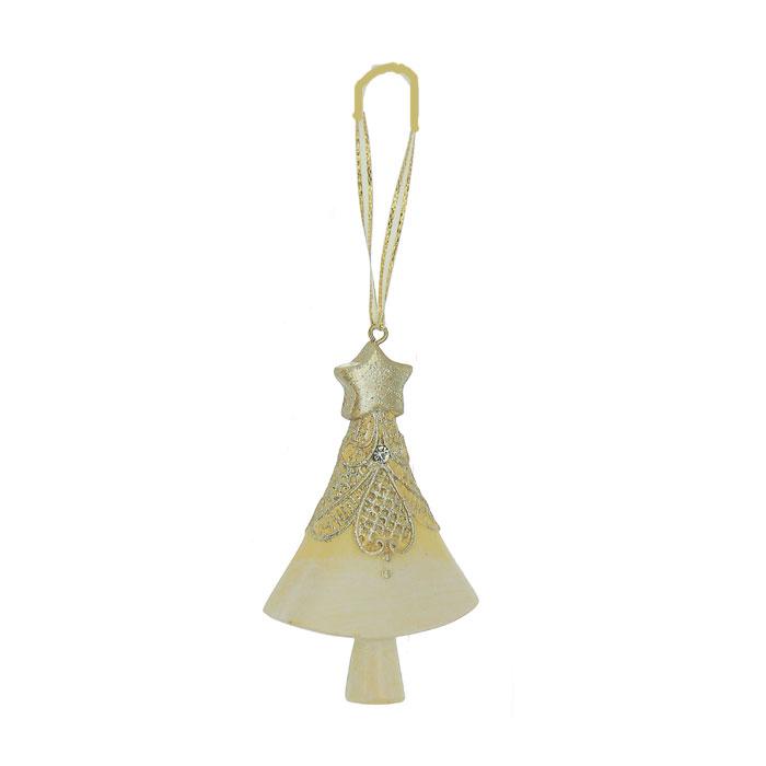 Новогоднее подвесное украшение Елка, цвет: бежевый, золотистый. 2596325963Оригинальное новогоднее украшение выполнено из полирезины в виде елочки, украшенной блестками. С помощью специальной петельки украшение можно повесить в любом понравившемся вам месте. Но, конечно же, удачнее всего такая игрушка будет смотреться на праздничной елке. Новогодние украшения приносят в дом волшебство и ощущение праздника. Создайте в своем доме атмосферу веселья и радости, украшая всей семьей новогоднюю елку нарядными игрушками, которые будут из года в год накапливать теплоту воспоминаний. Коллекция декоративных украшений из серии Magic Time принесет в ваш дом ни с чем несравнимое ощущение волшебства!