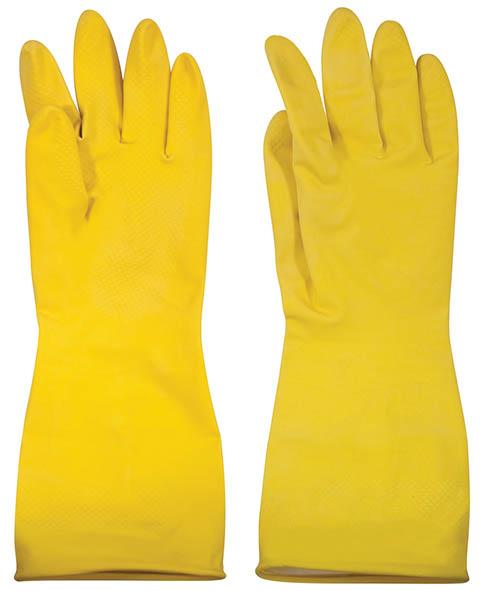 Перчатки хозяйственные Лотос, с внутренним напылением, цвет: желтый. Размер М12404Хозяйственные перчатки применяются для защиты рук при бытовых, садоводческих и строительных работах. Натуральный латекс придает перчаткам прочность, одновременно обеспечивая рукам чувствительность. Рифленая поверхность ладони обеспечивает защиту против скольжения.