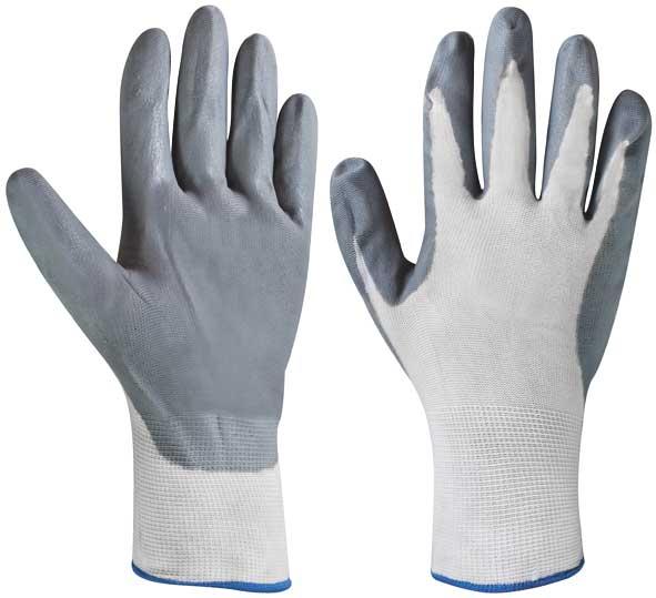 Перчатки нейлоновые, с ПВХ заливкой наладонника. Размер 1012471Перчатки нейлоновые с ПВХ заливкой используются для строительных и погрузочно-разгрузочных работ. Ладонная часть усилена латексом для защиты руки от механического воздействия.