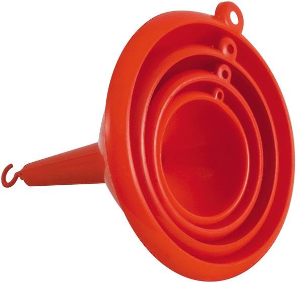 Набор воронок FIT, цвет: красный, диаметр: 6 см, 7 см, 9,5 см, 12 см, 4 шт67827Набор состоит из четырех воронок, выполненных из пластика красного цвета. Они имеют форму конуса с трубкой. Отлично послужат для переливания жидкостей в сосуд с узким горлышком.