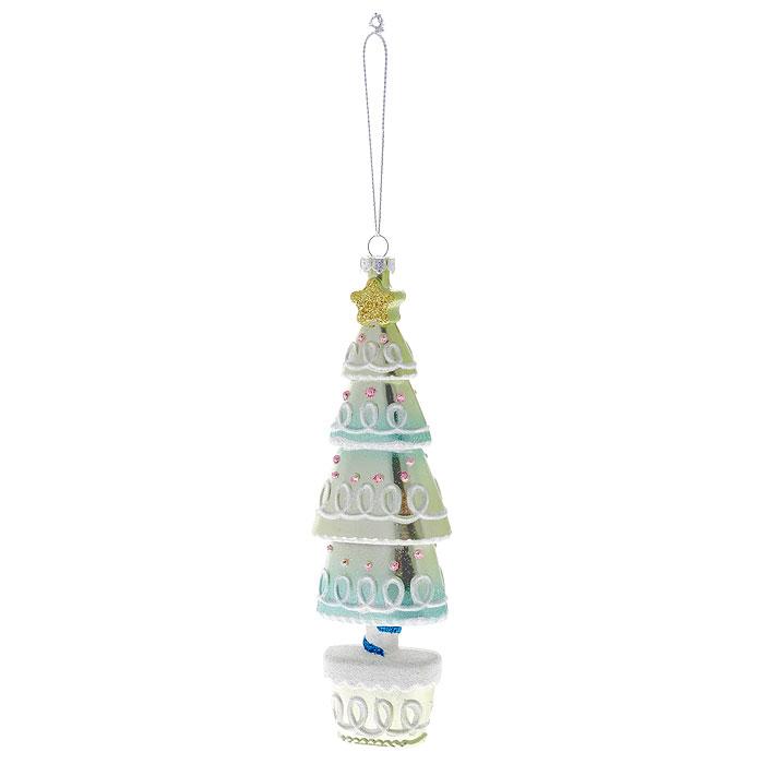 Новогоднее подвесное украшение Елка, цвет: зеленый. 2590525905Оригинальное новогоднее украшение выполнено из пластика в виде нарядной елочки, украшенной блестками. С помощью специальной петельки украшение можно повесить в любом понравившемся вам месте. Но, конечно же, удачнее всего такая игрушка будет смотреться на праздничной елке. Новогодние украшения приносят в дом волшебство и ощущение праздника. Создайте в своем доме атмосферу веселья и радости, украшая всей семьей новогоднюю елку нарядными игрушками, которые будут из года в год накапливать теплоту воспоминаний. Коллекция декоративных украшений из серии Magic Time принесет в ваш дом ни с чем несравнимое ощущение волшебства! Характеристики: Материал: пластик, текстиль. Цвет: зеленый. Размер украшения: 17 см х 5,5 см х 3 см. Артикул: 25905.
