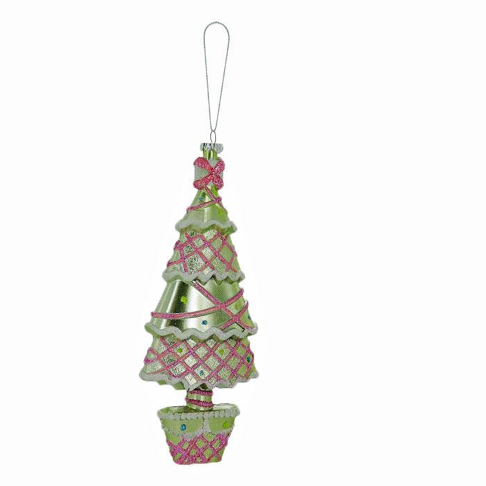 Новогоднее подвесное украшение Елка, цвет: зеленый, розовый. 2590725907Оригинальное новогоднее украшение выполнено из пластика в виде нарядной елочки, украшенной блестками. С помощью специальной петельки украшение можно повесить в любом понравившемся вам месте. Но, конечно же, удачнее всего такая игрушка будет смотреться на праздничной елке. Новогодние украшения приносят в дом волшебство и ощущение праздника. Создайте в своем доме атмосферу веселья и радости, украшая всей семьей новогоднюю елку нарядными игрушками, которые будут из года в год накапливать теплоту воспоминаний. Коллекция декоративных украшений из серии Magic Time принесет в ваш дом ни с чем несравнимое ощущение волшебства!
