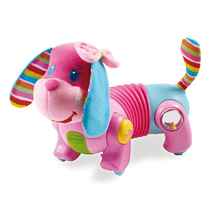 Развивающая игрушка Tiny Love Догони меня: Собачка Фиона, цвет: розовый, голубой1502506830Развивающая игрушка Tiny Love Догони меня: Собачка Фиона не оставит равнодушным вашего малыша. Игрушка представляет собой собачку, голова и хвост которой выполнены из приятного на ощупь текстильного материала, туловище - из пластика. Ушки собачки шуршат. На задних лапках располагаются встроенные прозрачные вставки-погремушки, задняя стенка которых представляет собой зеркало. На передних лапках собачки находятся кнопки, при нажатии на которые зазвучит веселая музыка. Игрушка снабжена четырьмя колесиками с ограничителем скорости на одном из них, благодаря которым малыш может катать игрушку, наблюдая, как крутятся шарики внутри погремушек. Часть туловища собачки представляет собой вставку-гармошку, которая позволяет осуществлять движение по прямой или по кругу. Развивающая игрушка Tiny Love Догони меня: Собачка Фиона волшебным образом поднимет настроение вашего малыша, побуждая ползать за ней, а также поможет ему в развитии цветового и звукового восприятия, мелкой...