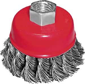 Щетка чашеобразная FIT для УШМ, 100 мм39468Щетка FIT для УШМ чашка используется в качестве насадки для угловой шлифовальной машины при зачистке поверхностей от лакокрасочных покрытий, ржавчины, окалины и различных загрязнений. Изготовлена из стальной волнистой проволоки с латунным покрытием. С гайкой М14.