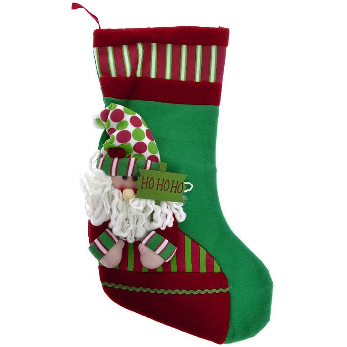 Новогоднее подвесное украшение Чулок, цвет: зеленый. 2556925569Новогоднее украшение Чулок отлично подойдет для декорации вашего дома. Украшение выполнено из полиэстера в виде яркого чулка для подарков и оформлено аппликацией с изображением Деда Мороза. В руках у него табличка с надписью Но-но-но. Вы можете подвесить его в любом месте, где оно будет удачно смотреться, и радовать глаз. Кроме того, это украшение - отличный вариант подарка для ваших близких и друзей. Новогодние украшения всегда несут в себе волшебство и красоту праздника. Создайте в своем доме атмосферу тепла, веселья и радости, украшая его всей семьей. Характеристики: Материал: полиэстер, дерево. Размер чулка: 26,5 см х 45 см х 0,5 см. Размер упаковки: 37 см х 26 см х 1 см. Артикул: 25569.