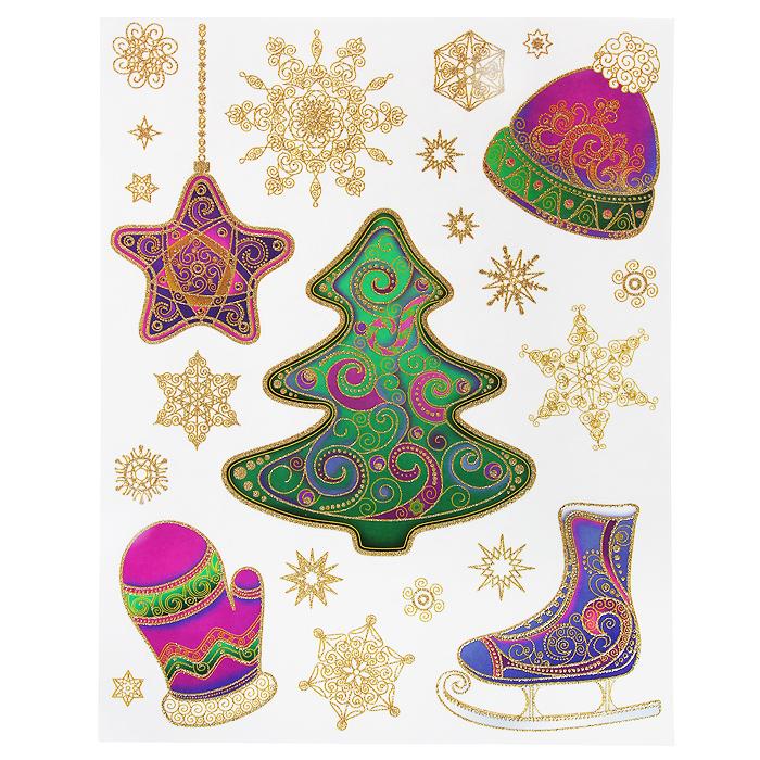 Новогоднее оконное украшение Зима. 3127631276Новогоднее оконное украшение Зима поможет украсить дом к предстоящим праздникам. Яркие изображения в виде елочки и снежинок нанесены на прозрачную клейкую пленку. Рисунки декорированы золотистыми блестками. С помощью этих украшений вы сможете оживить интерьер по своему вкусу: наклеить их на окно, на зеркало или на дверь. Новогодние украшения всегда несут в себе волшебство и красоту праздника. Создайте в своем доме атмосферу тепла, веселья и радости, украшая его всей семьей. Коллекция декоративных украшений из серии Magic Time принесет в ваш дом ни с чем не сравнимое ощущение волшебства! Характеристики: Материал: пленка ПВХ, глиттер. Размер листа: 30 см х 38 см. Размер наибольшей наклейки: 19 см х 17 см. Размер наименьшей наклейки: 3 см х 2,5 см. Изготовитель: Тайвань. Артикул: 31276.