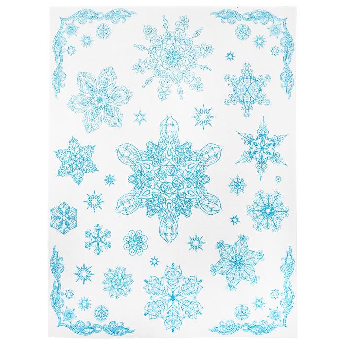 Новогоднее оконное украшение Снежинки. 3124431244Новогоднее оконное украшение Снежинки поможет украсить дом к предстоящим праздникам. Яркие изображения в виде снежинок нанесены на прозрачную клейкую пленку. Рисунки декорированы голубыми блестками. С помощью этих украшений вы сможете оживить интерьер по своему вкусу: наклеить их на окно, на зеркало или на дверь. Новогодние украшения всегда несут в себе волшебство и красоту праздника. Создайте в своем доме атмосферу тепла, веселья и радости, украшая его всей семьей. Коллекция декоративных украшений из серии Magic Time принесет в ваш дом ни с чем не сравнимое ощущение волшебства! Характеристики: Материал: пленка ПВХ, глиттер. Размер листа: 30 см х 38 см. Размер наибольшей наклейки: 16 см х 13,5 см. Размер наименьшей наклейки: 2 см х 2 см. Изготовитель: Тайвань. Артикул: 31244.