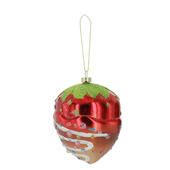 Новогоднее подвесное украшение Клубника. 2590825908Новогоднее украшение Клубника отлично подойдет для декорации вашего дома и новогодней ели. Украшение выполнено из пластика в виде клубнички, украшенной блестками. Елочная игрушка - символ Нового года. Она несет в себе волшебство и красоту праздника. Создайте в своем доме атмосферу веселья и радости, украшая всей семьей новогоднюю елку нарядными игрушками, которые будут из года в год накапливать теплоту воспоминаний. Характеристики: Материал: пластик. Цвет: красный, желтый, зеленый. Размер: 11 см х 8 см х 8 см. Артикул: 25908.