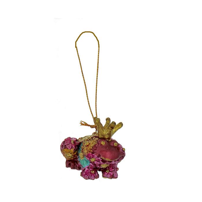 Новогоднее подвесное украшение Лягушка, цвет: золотистый, бирюзовый, розовый. 2543025430Подвесное новогоднее украшение Лягушка выполнено из пластика и декорировано блестками. Такое украшение не разобьется и прослужит долго, дополняя интерьер вашего дома.С помощью специальной петельки украшение можно повесить в любом понравившемся вам месте. Но, конечно, удачнее всего такая игрушка будет смотреться на праздничной елке. Оригинальный дизайн и красочное исполнение создадут праздничное настроение. Новогодние украшения всегда несут в себе волшебство и красоту праздника. Создайте в своем доме атмосферу тепла, веселья и радости, украшая его всей семьей.