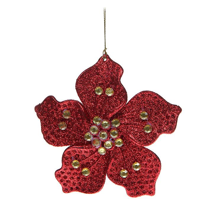 Новогоднее подвесное украшение Цветочек, цвет: красный. 3064630646Новогоднее украшение Цветочек отлично подойдет для декорации вашего дома и новогодней ели. Игрушка сделана из пластика в виде цветочка, декорированного блестками и стразами. Елочная игрушка - символ Нового года. Она несет в себе волшебство и красоту праздника. Создайте в своем доме атмосферу веселья и радости, украшая всей семьей новогоднюю елку нарядными игрушками, которые будут из года в год накапливать теплоту воспоминаний.