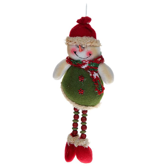 Новогоднее подвесное украшение Снеговик. 3080530805Оригинальное новогоднее украшение выполнено из полиэстера в виде забавного снеговика. Удачнее всего такой снеговик будет смотреться на праздничной елке. Новогодние украшения приносят в дом волшебство и ощущение праздника. Создайте в своем доме атмосферу веселья и радости, украшая всей семьей новогоднюю елку нарядными игрушками, которые будут из года в год накапливать теплоту воспоминаний. Коллекция декоративных украшений из серии Magic Time принесет в ваш дом ни с чем несравнимое ощущение волшебства!