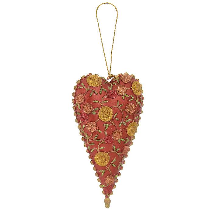 Новогоднее подвесное украшение Сердце. 2542725427Оригинальное новогоднее украшение Сердце прекрасно подойдет для оформления дома и праздничной ели. Изделие выполнено из пластика в виде сердца, украшенного рельефными цветочными узорами. С помощью текстильной петельки его можно повесить в любом понравившемся вам месте. Но, конечно, удачнее всего такая игрушка будет смотреться на праздничной елке. Елочная игрушка - символ Нового года. Она несет в себе волшебство и красоту праздника. Создайте в своем доме атмосферу веселья и радости, украшая новогоднюю елку нарядными игрушками, которые будут из года в год накапливать теплоту воспоминаний. Коллекция декоративных украшений из серии Magic Time принесет в ваш дом ни с чем несравнимое ощущение волшебства! Характеристики: Материал: пластик, текстиль, блестки. Цвет: красный, золотистый. Размер украшения (ДхШхВ): 6 см х 2 см х 12 см. Артикул: 25427.