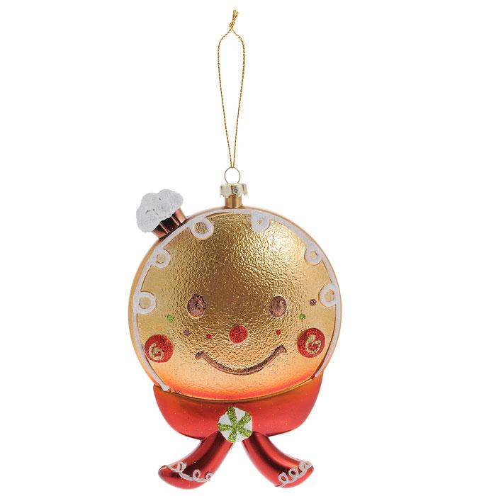 Новогоднее подвесное украшение Колобок. 2589125891Оригинальное новогоднее украшение Колобок прекрасно подойдет для оформления дома и праздничной ели. Изделие выполнено из пластика и украшено блестками. С помощью текстильной петельки его можно повесить в любом понравившемся вам месте. Но, конечно, удачнее всего такая игрушка будет смотреться на праздничной елке. Елочная игрушка - символ Нового года. Она несет в себе волшебство и красоту праздника. Создайте в своем доме атмосферу веселья и радости, украшая новогоднюю елку нарядными игрушками, которые будут из года в год накапливать теплоту воспоминаний. Коллекция декоративных украшений из серии Magic Time принесет в ваш дом ни с чем несравнимое ощущение волшебства! Характеристики: Материал: пластик, текстиль, блестки. Размер украшения (ДхШхВ): 9,5 см х 2 см х 14,5 см. Артикул: 25891.