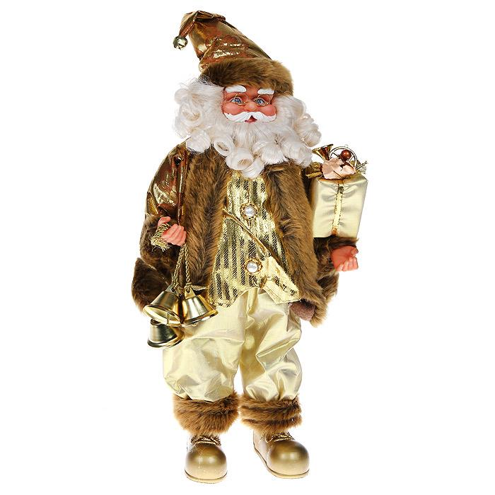 Новогодняя декоративная фигурка Санта, высота 46 см. 3102531025Декоративная фигурка Санта, выполненная из пластика и ткани, подойдет для оформления новогоднего интерьера и принесет с собой атмосферу радости и веселья. Санта одет в нарядный костюм золотистого цвета, отороченый мехом, на голове - золотистый колпак с металлическим бубенчиком. В одной руке Санта держит красиво оформленный подарок, в другой - три звенящих колокольчика. Его добрый вид и очаровательная густая, белая борода притягивают к себе восторженные взгляды. Коллекция декоративных украшений из серии Magic Time принесет в ваш дом ни с чем несравнимое ощущение волшебства! Новогодние украшения всегда несут в себе волшебство и красоту праздника. Создайте в своем доме атмосферу тепла, веселья и радости, украшая его всей семьей.