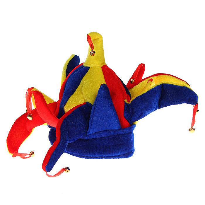 Маскарадная шляпа Скоморох, цвет: красный, синий, желтый. 3134131341У вас намечается веселая вечеринка или маскарад? Маскарадная шляпа Скоморох внесет нотку задора и веселья в праздник и станет завершающим штрихом в создании праздничного образа. Трехцветная шляпа с характерными рожками, выполненная из полиэстера и эпонжа, украшена звенящими колокольчиками на текстильных петельках. Веселое настроение и масса положительных эмоций вам будут обеспечены!