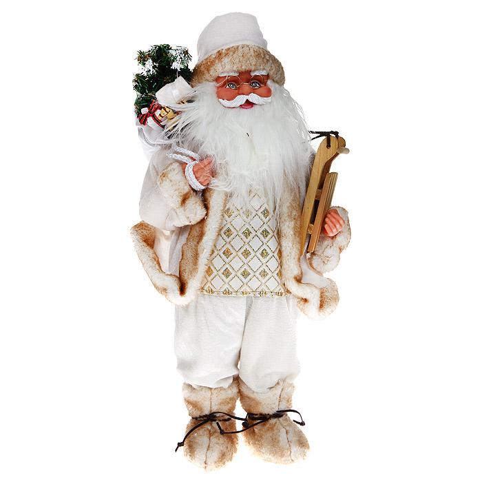 Новогодняя декоративная фигурка Санта, 46 см. 3101531015Новогодняя декоративная фигурка выполнена из пластика в виде Санта Клауса. Санта одет в белые бархатные брюки, белую бархатную шубу с бежевой опушкой и белую атласную жилетку, расшитую золотистым люрексом. На ногах - бежевые меховые ботиночки, перевязанные кожаными шнурками. На голове - белый бархатным колпак с бежевым мехом и бубенчиком на конце. На плече Санта держит мешок с подарками, в руке - деревянные санки. Его добрый вид и очаровательная густая, белая борода притягивают к себе восторженные взгляды. Декоративная фигурка Санта подойдет для оформления новогоднего интерьера и принесет с собой атмосферу радости и веселья. Коллекция декоративных украшений из серии «Magic Time» принесет в ваш дом ни с чем не сравнимое ощущение волшебства! Новогодние украшения всегда несут в себе волшебство и красоту праздника. Создайте в своем доме атмосферу тепла, веселья и радости, украшая его всей семьей. Характеристики: Материал: пластик, текстиль, дерево. ...