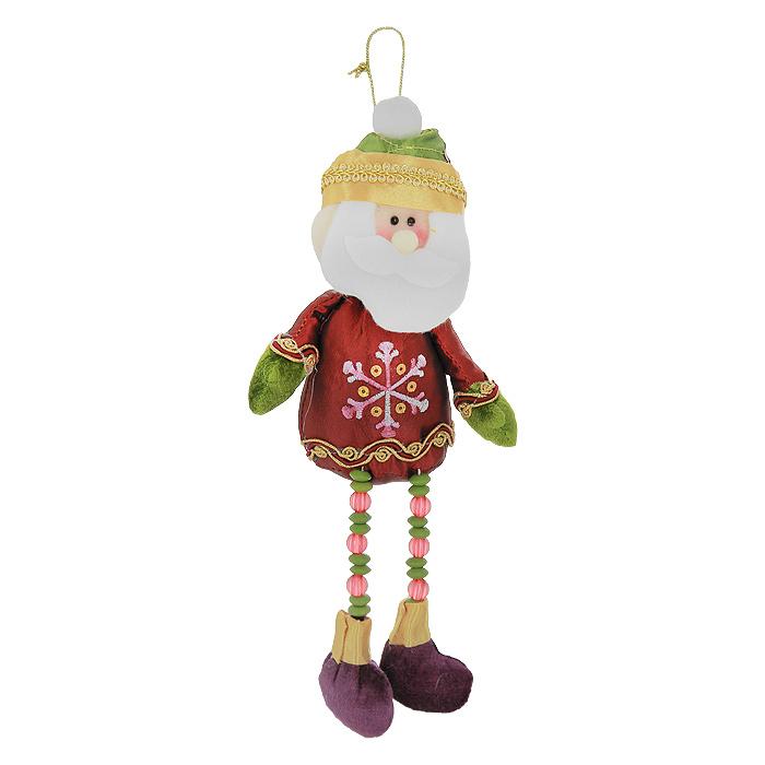 Новогоднее подвесное украшение Санта. 2653826538Новогоднее украшение Санта выполнено из полиэстера в виде Санта Клауса на длинных ногах, украшенных бусинами. Тело Санты мягконабивное. Костюм декорирован вышивкой, золотистой тесьмой и пайетками. Это украшение - отличный вариант подарка для ваших близких и друзей. Вы можете повесить его в любом месте, где оно будет удачно смотреться, и радовать глаз. Украшение Новогодние украшения всегда несут в себе волшебство и красоту праздника. Создайте в своем доме атмосферу тепла, веселья и радости, украшая его всей семьей. Характеристики: Материал: полиэстер, пластик. Размер украшения: 28 см х 11 см х 4,5 см. Размер упаковки: 20 см х 13 см х 5 см. Артикул: 26538.