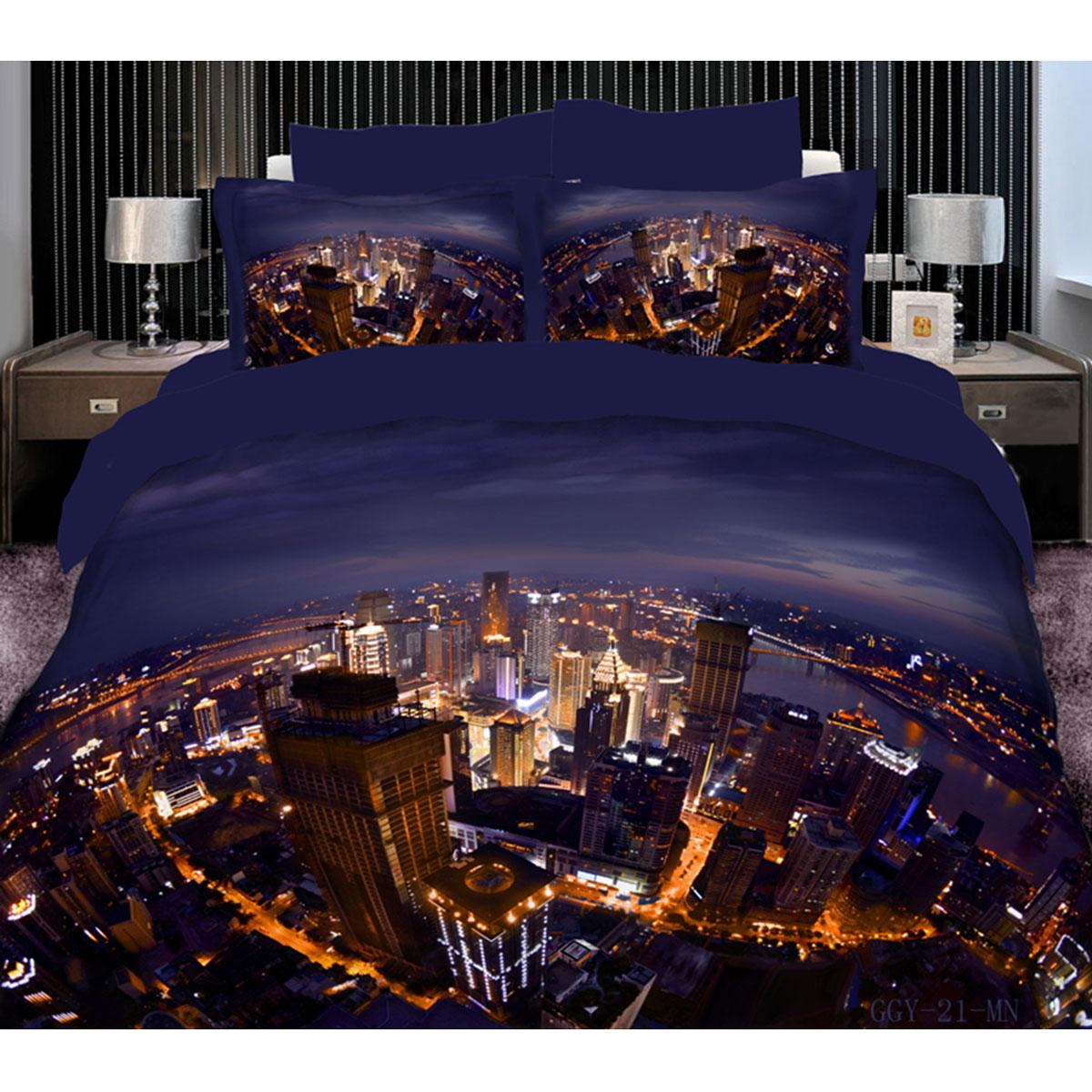 Постельное белье Коллекция Ночной город (Евро КПБ, сатин рамочный с эффектом 3D, наволочки 50х70)СР3Д2,5/8-21/50Комплект постельного белья Коллекция Ночной город, изготовленный из рамочного сатина, поможет вам расслабиться и подарит спокойный сон. Постельное белье, оформленное 3D-изображением ночного города, имеет изысканный внешний вид и обладает яркостью и сочностью цвета. Комплект состоит из пододеяльника на молнии, простыни и двух наволочек с ушами. Благодаря такому комплекту постельного белья вы сможете создать атмосферу уюта и комфорта в вашей спальне. Сатин производится из высших сортов хлопка, а своим блеском, легкостью и на ощупь напоминает шелк. Такая ткань рассчитана на 200 стирок и более. Постельное белье из сатина превращает жаркие летние ночи в прохладные и освежающие, а холодные зимние - в теплые и согревающие. Благодаря натуральному хлопку, комплект постельного белья из сатина приобретает способность пропускать воздух, давая возможность телу дышать. Одно из преимуществ материала в том, что он практически не мнется и ваша спальня всегда будет аккуратной и...