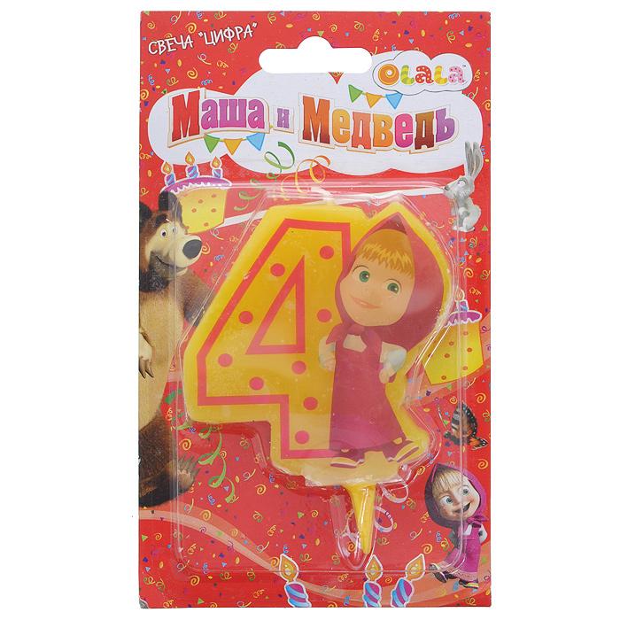 Свеча-цифра для торта Маша и медведь 4, цвет: желтый