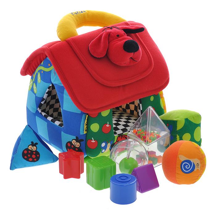 Обучающий домик-сортер Ks KidsKA460Обучающий домик-сортер Ks Kids непременно понравится вашему малышу и надолго займет его внимание. Игрушка выполнена из мягкого текстильного материала ярких цветов в виде домика с шуршащими ставнями. На его боках и пластиковой вставке на крыше расположены отверстия для входящих в набор десяти геометрических фигурок в виде квадрата, звездочки, треугольника и круга, три из них выполнены из мягкого текстильного материала, остальные - из безопасного пластика. Внутри прозрачных фигурок находятся гремящие элементы. Задача малыша заключается в том, чтобы опустить фигурки в соответствующие им отверстия. На крыше домика расположены текстильная ручка для переноски и клапан на липучке, оформленный декоративный элементом в виде головы собачки. Обратная сторона клапана представляет собой зеркальце. Открыв клапан, малыш сможет достать фигурки и начать игру сначала. Комплект включает в себя домик и десять фигурок. Обучающий домик-сортер Ks Kids способствует развитию у малыша...