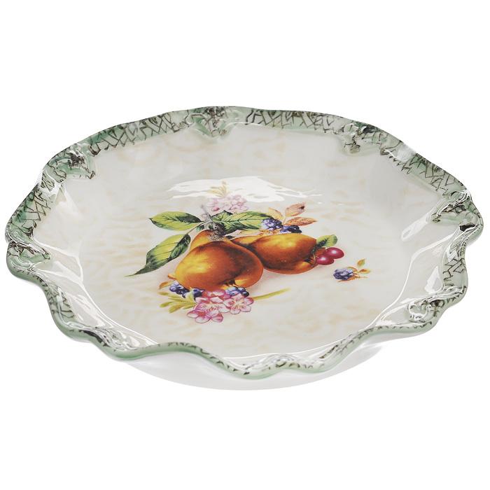 Блюдо Lillo, диаметр 20,5 см. 213469213469Блюдо Lillo выполнено из высококачественой керамики. Блюдо кремового цвета оформлено зеленой каймой и украшено рисунком в виде фруктов и ягод. Данное блюдо сочетает в себе изысканный дизайн с максимальной функциональностью. Красочность оформления придется по вкусу и ценителям классики, и тем, кто предпочитает утонченность и изысканность.
