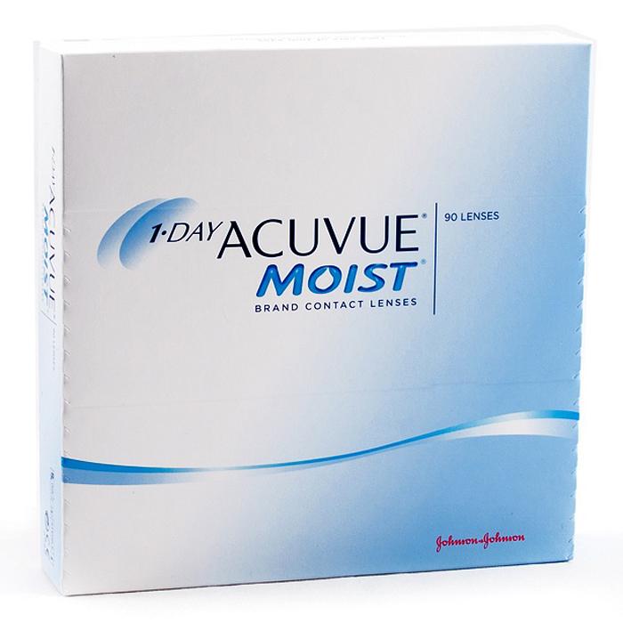 Johnson & Johnson контактные линзы 1-Day Acuvue Moist (90шт / 8.5 / -5.50)12097Контактные линзы 1-Day Acuvue Moist для ежедневной замены от известной компании Johnson & Johnson Vision Care созданы для того, чтобы ваши глаза чувствовали себя увлажненными, а ощущение комфорта и свежести не покидало весь день. Уже исходя из названия (Moist) становится понятно, что при изготовлении линз используется дополнительный увлажнитель, благодаря которому влага удерживается внутри линзы даже в конце дня. Если ваши глаза подвергаются высоким нагрузкам в течение дня, то именно 1-Day Acuvue Moist подойдут вам лучше всего. Они обладают всеми преимуществами однодневных линз: не требуют дополнительных расходов по уходу, комфортны в ношении и так же, как и 1-Day Acuvue, снабжены солнечным фильтром.