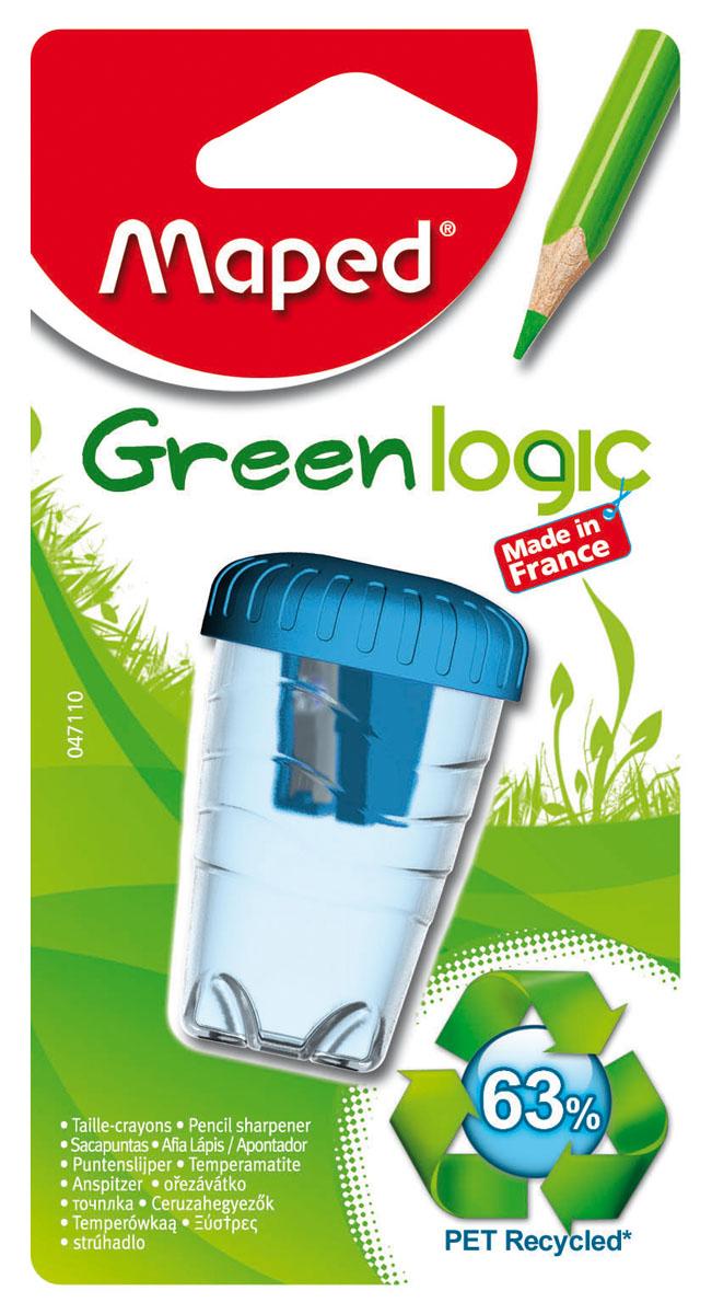 Точилка пластиковая Maped Green Logic, с контейнером, цвет: голубой047110Точилка пластиковая Maped Green Logic - это одинарная эргономичная точилка с контейнером, изготовленная из вторичного пластика (переработанные пластиковые бутылки). Неломающаяся. Имеет экологичную упаковку: блистерная основа на 95% из вторичного картона, а блистерное покрытие из вторичного пластика. Сделано во Франции. Характеристики: Размер: 3 см x 4,5 см x 4,5 см. Материал: пластик, металл. Изготовитель: Франция.