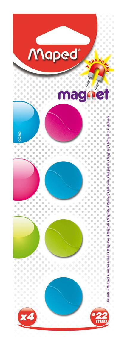 Магниты Maped, цветные, круглые, 22 мм, 4 шт052200Разноцветные сигнальные магниты Maped не позволят потерять важную идею при проведении семинаров, мозговых штурмов или презентаций. Особо сильные и оснащенные цельными ферритными стержнями, они помогут надежно прикрепить листы бумаги на любой железной или стальной поверхности. В наборе магниты бирюзового, розового, салатового цветов. Характеристики: Материал: пластик, магнит. Размер магнита: 2,2 см х 2,2 см х 0,5 см. Размер упаковки: 19 см х 6 см х 0,6 см. Изготовитель: Китай.