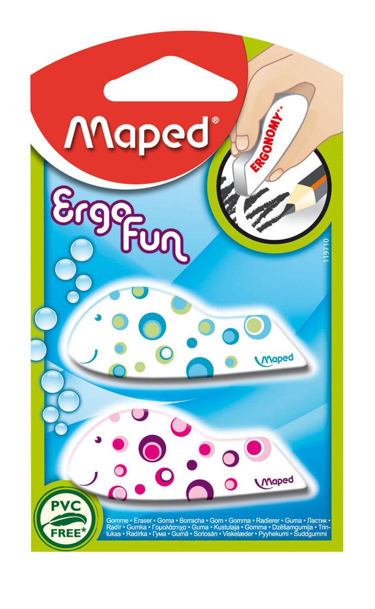 Набор ластиков Maped Ergo fun fancy, 2 шт119710Набор ластиков Maped Ergo fun fancy состоит из двух ластиков затейливых форм и расцветок. Эргономичная форма ластика удобна для детских рук. Точное стирание: простое стирание тонких и широких линий. Ластики в форме забавных животных несомненно привлекут внимание и интерес вашего ребенка к процессу обучения.