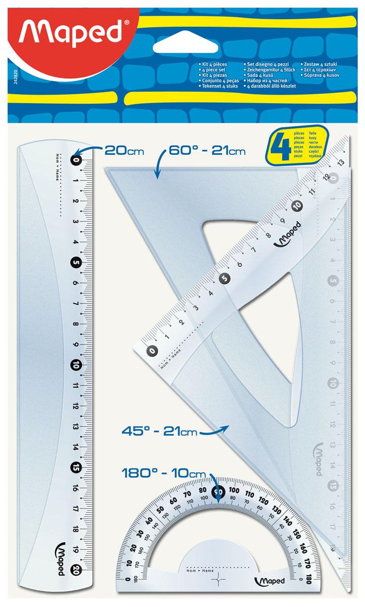 Геометрический набор Maped Старт, 4 предмета. 242820242820Геометрический набор Старт, выполненный из прозрачного пластика сиреневого цвета содержит все, что может понадобиться ученику на уроках математики. Набор состоит из четырех предметов: линейки на 20 сантиметров, транспортира на 180° и двух угольников. Один угольник с углами 45, 45, 90 градусов и линейкой на 14 сантиметров, второй угольник с углами 30, 60, 90 градусов и линейкой на 20 сантиметров. Каждый чертежный инструмент имеет свои функциональные особенности, что делает работу с ними особенно удобной и легкой.